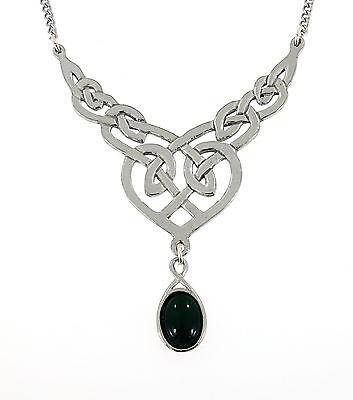 Handcraft Celtic Knotwork Onyx Gemstone Silver Tone Metal Drop Necklace NWT BIN
