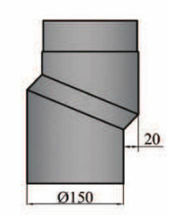 Rauchrohrbogen S-Versatzbogen 20mm Durchmesser 150mmschwarz
