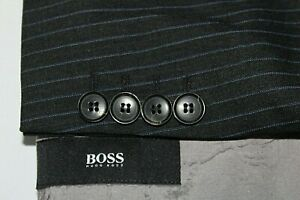Hugo Boss 46r Traje Pasolini Pelicula Gris Con Rayas Azules Pantalones De Lana 40 X 30 Ebay
