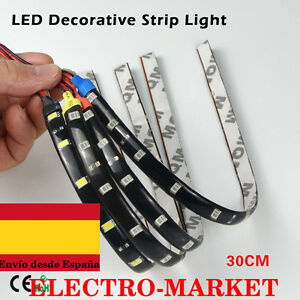 Tira de Luz LED Flexible Impermeable 30cm 15LED 3528 SMD CC 12V 3W