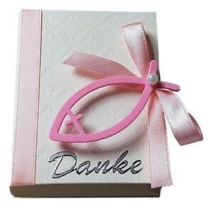 10 x Gastgeschenke N.4 pink weiß Fisch Mandeln Kommunion Konfirmation Taufe