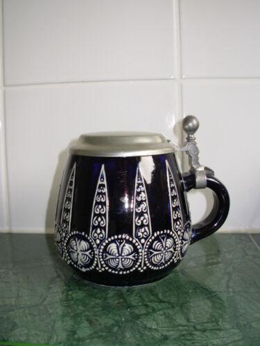 12 cm hoch dunkelblau Alter Bierkrug Humpen mit Zinndeckel ca