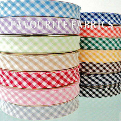 EXTRA WIDE - 25m ROLL GINGHAM - 30mm - QUALITY EUROPEAN BIAS BINDING all colours