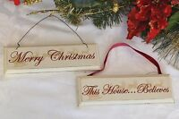 Nordic Shabby chic wooden Merry Christmas & This House Belives decoration tree