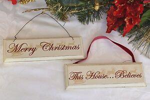 Buon Natale Shabby Chic.Shabby Chic In Legno Buon Natale Quest Aula Crede Decorazione Albero Presenti Ebay