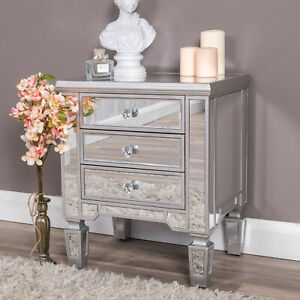 Silver Mirrored Bedside Table Chest