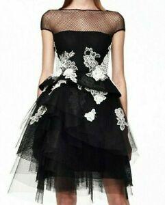 MONIQUE-LHUILLIER-Embroidered-Floral-Lace-Tulle-Cocktail-Dress-IT-38-40-US-2-4