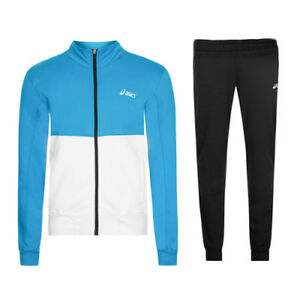 Details about Asics Mens Blue White Black Training Zip Up Full Tracksuit 127705 0904 Z28A