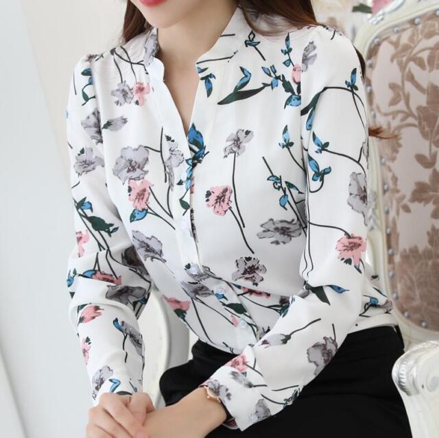 2017 Korean Ladies Business OL Printed Chiffon Autumn Blouse Tops Shirt A+++