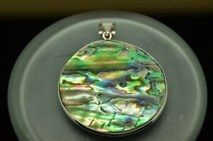 925 Sterling Silver Round Abalone Pendant