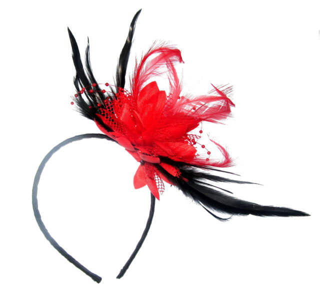 STUNNING Red and Black Fascinator Headband for Special Events for ... 9371964729d