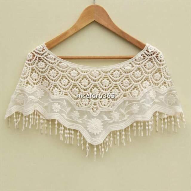 New Women Lace Crochet Knit Hippie Bohemian Cami Tops Blouse Cape Vest Shawl