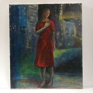 Vintage-Painting-on-Canvass-034-Girl-in-Red-034-by-S-Horie-Selling-Low