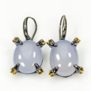 Fine-Art-SET28ct-Natural-Chalcedony-925-Sterling-Silver-Earrings-E30118