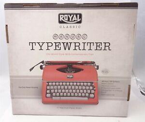 Royal Classic Manual Typewriter Red Full Sized Keyboard 44 Keys Retro, 79120q