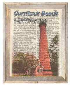 Currituck Beach Lighthouse NC Altered Art Print Upcycled Vintage Dictionary Page