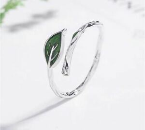 925-Sterlingsilber-Ring-Damen-Ringe-Blatt-Blaetter-Verstellbar-Silber-Filigran