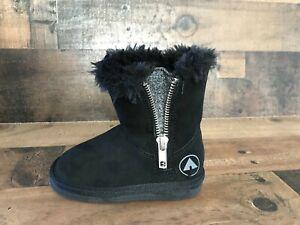 Air-Walk-Toddler-Girls-Snow-Winter-Black-Fur-Boots-Sz-5-NEW