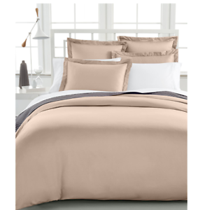 Charter Club Damask FULL QUEEN Duvet Cover 500 TC Pima Cotton Taupe Solid  170