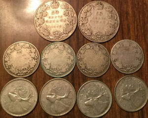 LOT-OF-SILVER-CANADA-50-CENTS-AND-25-CENTS-HALVES-AND-QUARTERS-10-COINS-TOTAL