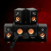 Home Theater Surround Sound 4 Speaker 2 Sub Sd Usb Audio Jack Inputs System Set