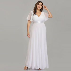 9a810e5a40f32 Ever-Pretty White Long Bridesmaid Dress Cap Sleeve Chiffon Maxi ...