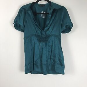 BCBG-Maxazria-Womens-Blouse-Lot-Of-2-Blue-Brown-Short-Sleeve-Top-SIze-M