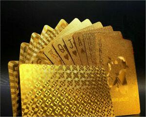 Wasserdicht-Spielkarten-Deck-Magie-Karte-Gold-Folie-Poker-Uberzogen-Kunstst-X2T1