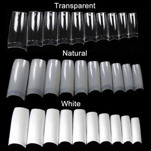 500-Artificial-French-False-Acrylic-Nail-Art-Tips-White-Clear-Natural-UV-Gel-UK