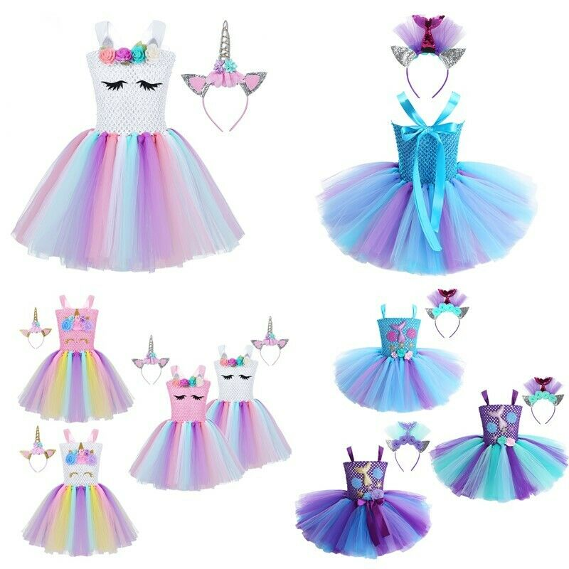 Kids Girls Princess Sequins Tulle Tutu Skirt Party Carnival Halloween Costumes