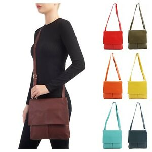nuovo concetto f4703 2f57d Details about Ladies Women Italian Vera Pelle Leather Crossbody Girls  Messenger Shoulder Bag