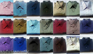 Mens-Thai-Silk-Shirt-S-M-L-XL-XXL-XXXL-23-Colour-Dress-Casual-Short-Sleeve