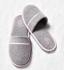 NEW Victoria's Secret VS Logo Slippers Shoes Gray Large 9-10