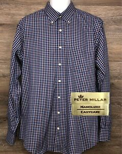 Peter-Millar-NanoLuxe-Men-039-s-Multi-Color-Plaid-Long-Sleeve-Button-Down-Shirt-L