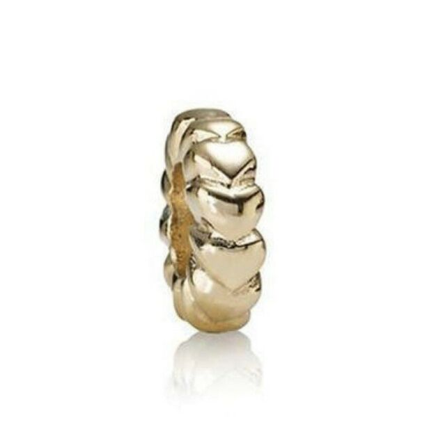 Pandora 14ct Gold Mini Heart Spacer Charm - 750203 - Retired ALE 585