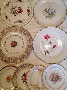 4 Vintage Mismatched China Dessert Plates Wedding Shower Pinks Greens tea party plates mad hatter china bridal shower # 131