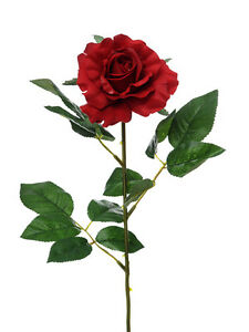 Image Is Loading Artificial Silk Single Red Rose Stem With Open