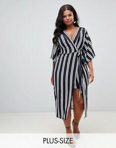 Pretty-Little-Thing-Navy-White-Stripe-Kimono-Sleeve-Wrapover-Dress-Size-16-26