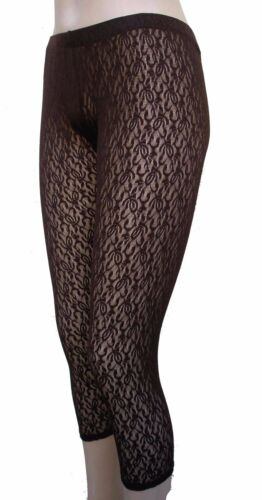 Cropped Leggings LACE NEW SMALL MEDIUM BROWN MADE IN USA