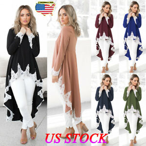 Womens-Long-Sleeve-Lace-Ruffles-Asymmetrical-Casual-Tops-Shirt-Blouse-Mini-Dress