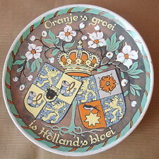 Holland Colour Wall Plate Floral Royal Crests and crown design Marked to Base