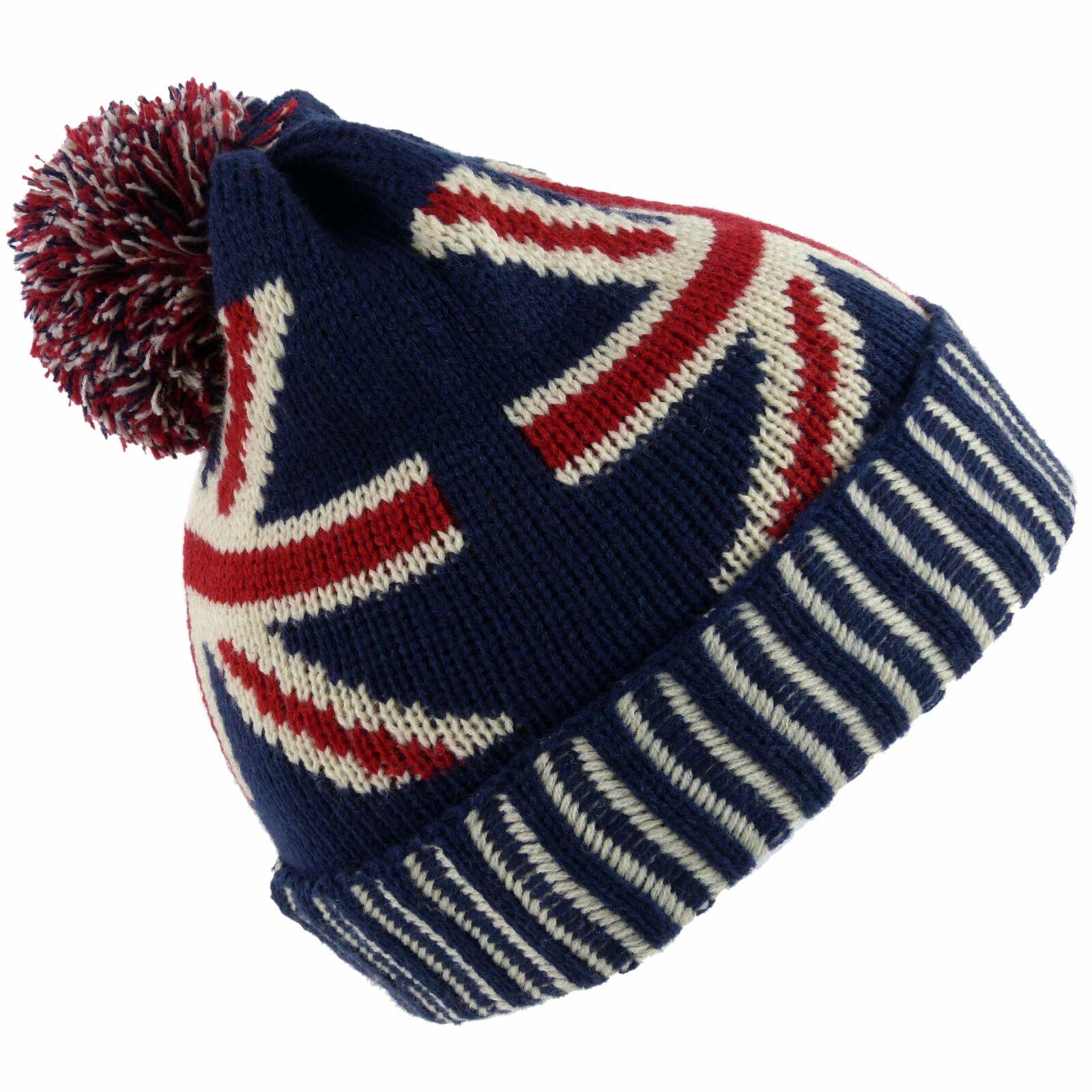 Herren Unisex UK Pullover Union Jack Pudelmütze One Größe Rot Weiß Blau London