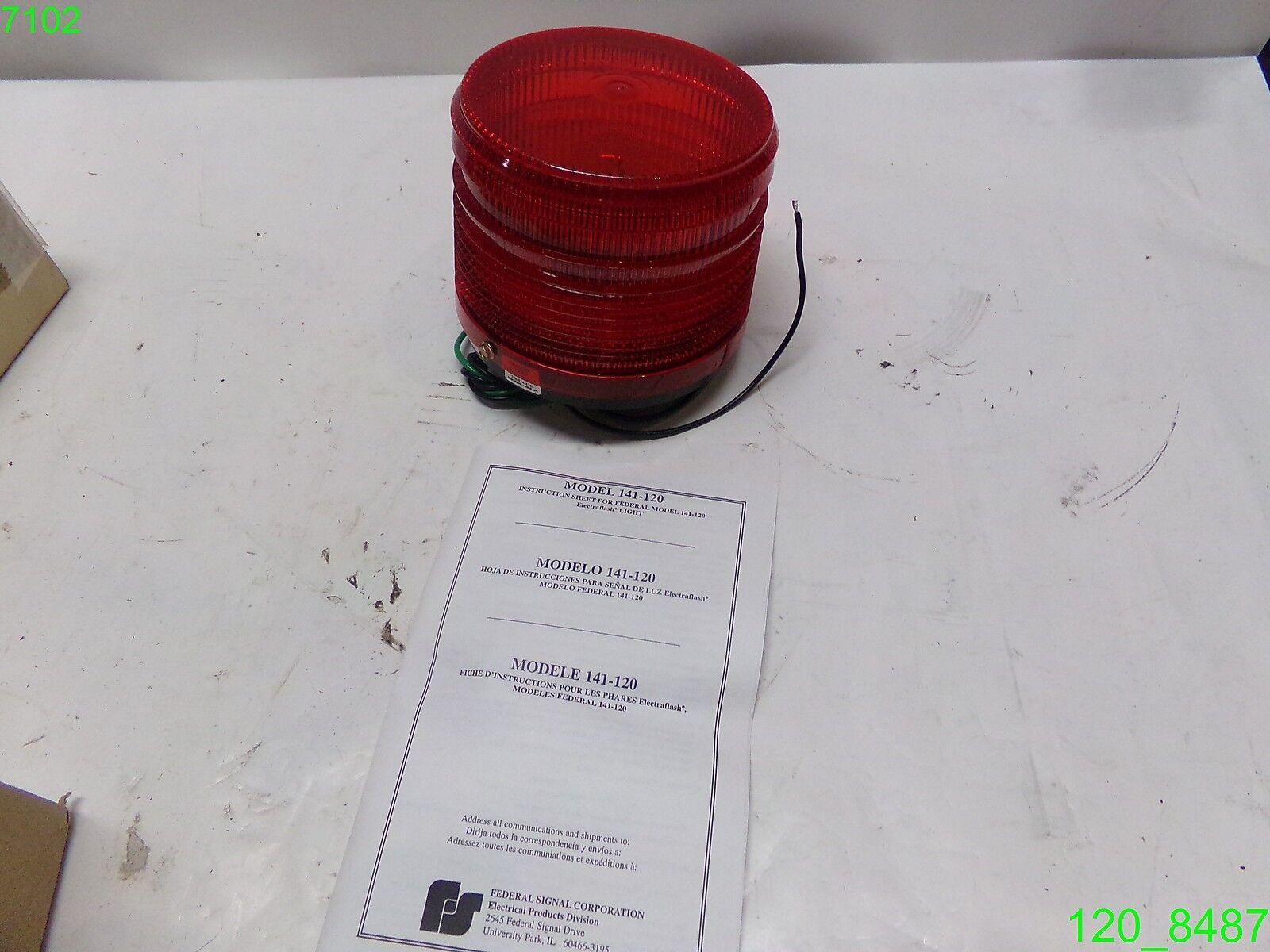FEDERAL SIGNAL 120VAC 40W .38A RED SIGNAL FLASHING LIGHT 141-120R - on