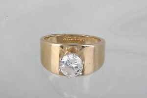 73a819db36c76 Details about 14KT GE ESPO CLEAR STONE ENGAGEMENT WEDDING RING SIZE 5 3/4  COSTUME SIGNED 1542B