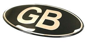 GB-Oval-100mm-x-58mm-Sticker-Decal-Retro-CHROME-on-BLACK-GLOSS-DOMED-GEL
