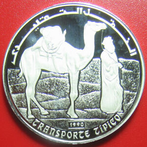 1990-SAHARAWI-500-PESETAS-SILVER-PROOF-ARAB-WALKING-CAMEL-DESERT-RARE-COIN-38mm