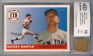 2006 Topps Home Run #119 Mickey Mantle w/WORN PANTS BECKETT 10 MINT GGUM