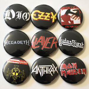 1980s-Heavy-Metal-Bands-Badges-Buttons-Pin-Set-Lot-x-9-One-Inch-25mm-Music-Rock