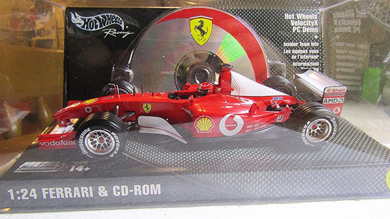 Hot Wheels Racing 1 24 Ferrari velocity x  Con Cd Rom  Rojo