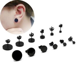 6 PAIRS BLACK PUNK ROCK FAKE EAR PLUG CHEATER STUD EARRINGS 4MM 5MM 6MM 8MM 10MM